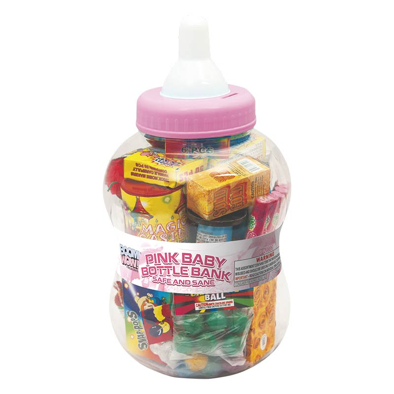 BW1301 - Pink Baby Bottle Bank (Safe And Sane)