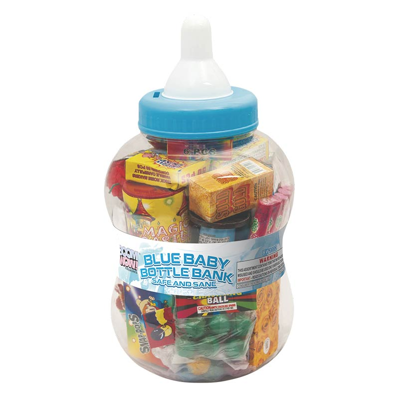 BW1302 - Blue Baby Bottle Bank (Safe And Sane)
