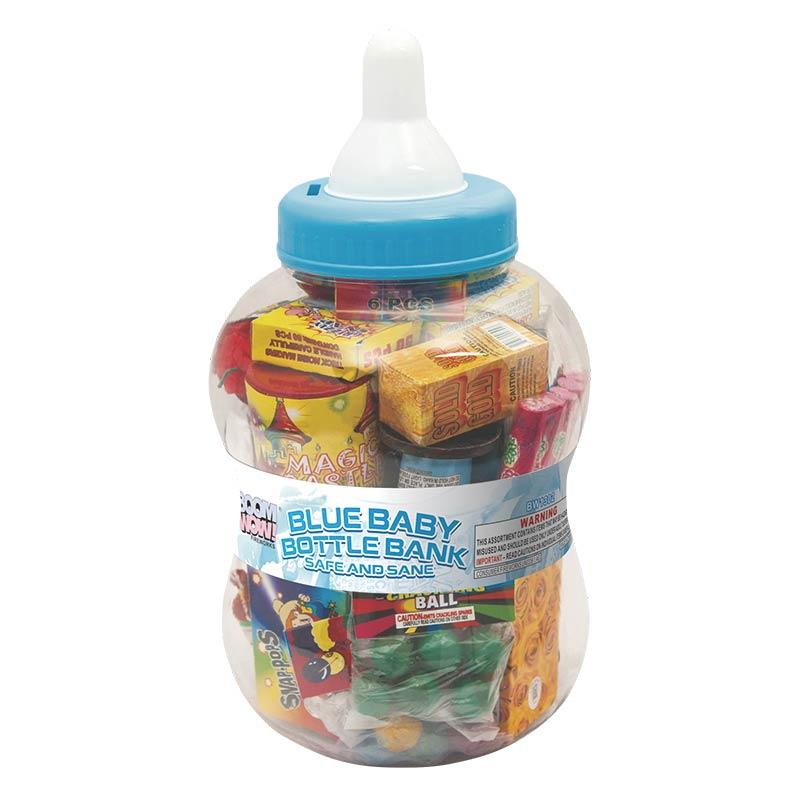 BW1302 - Blue Baby Bottle Bank (Safe And Sane)