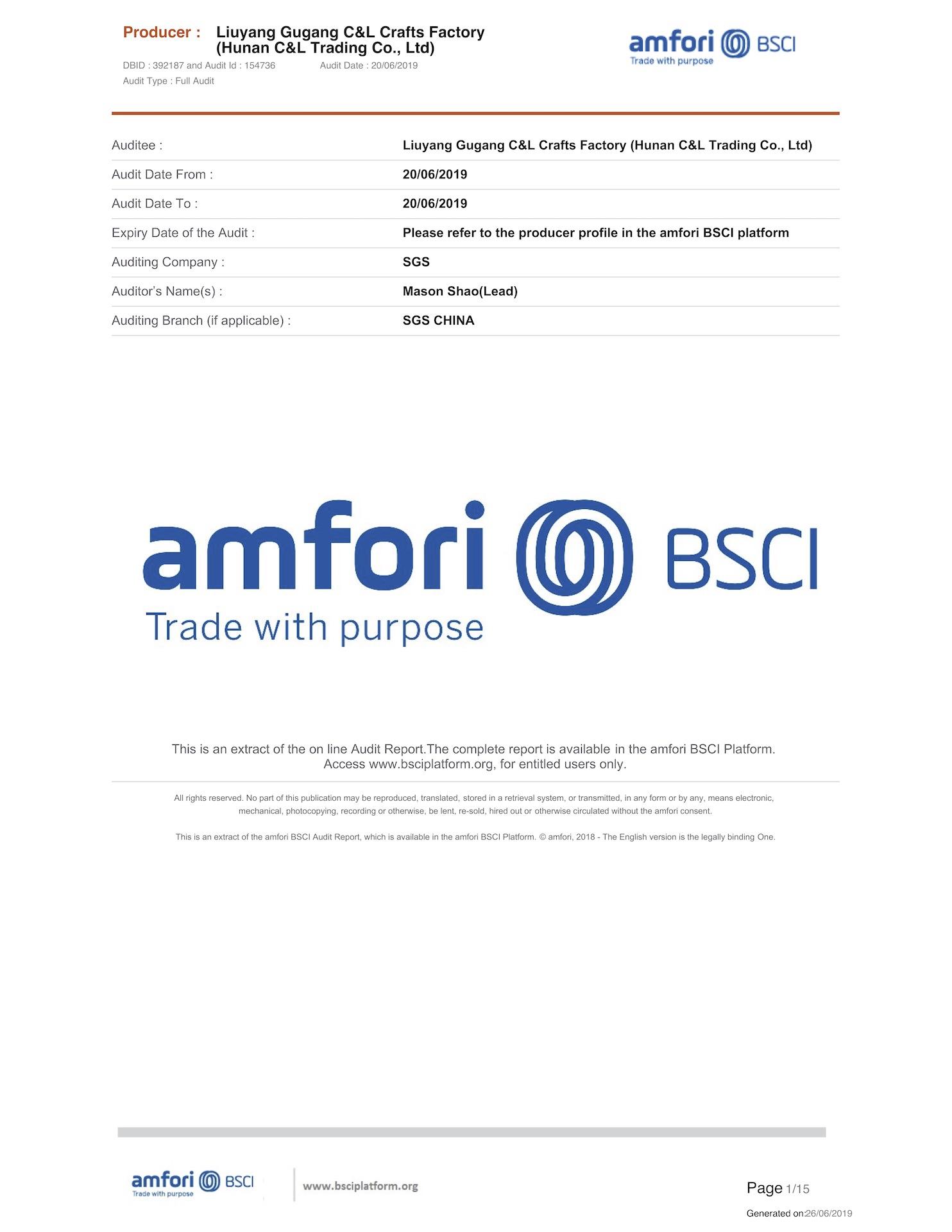 BSCI Factory Report