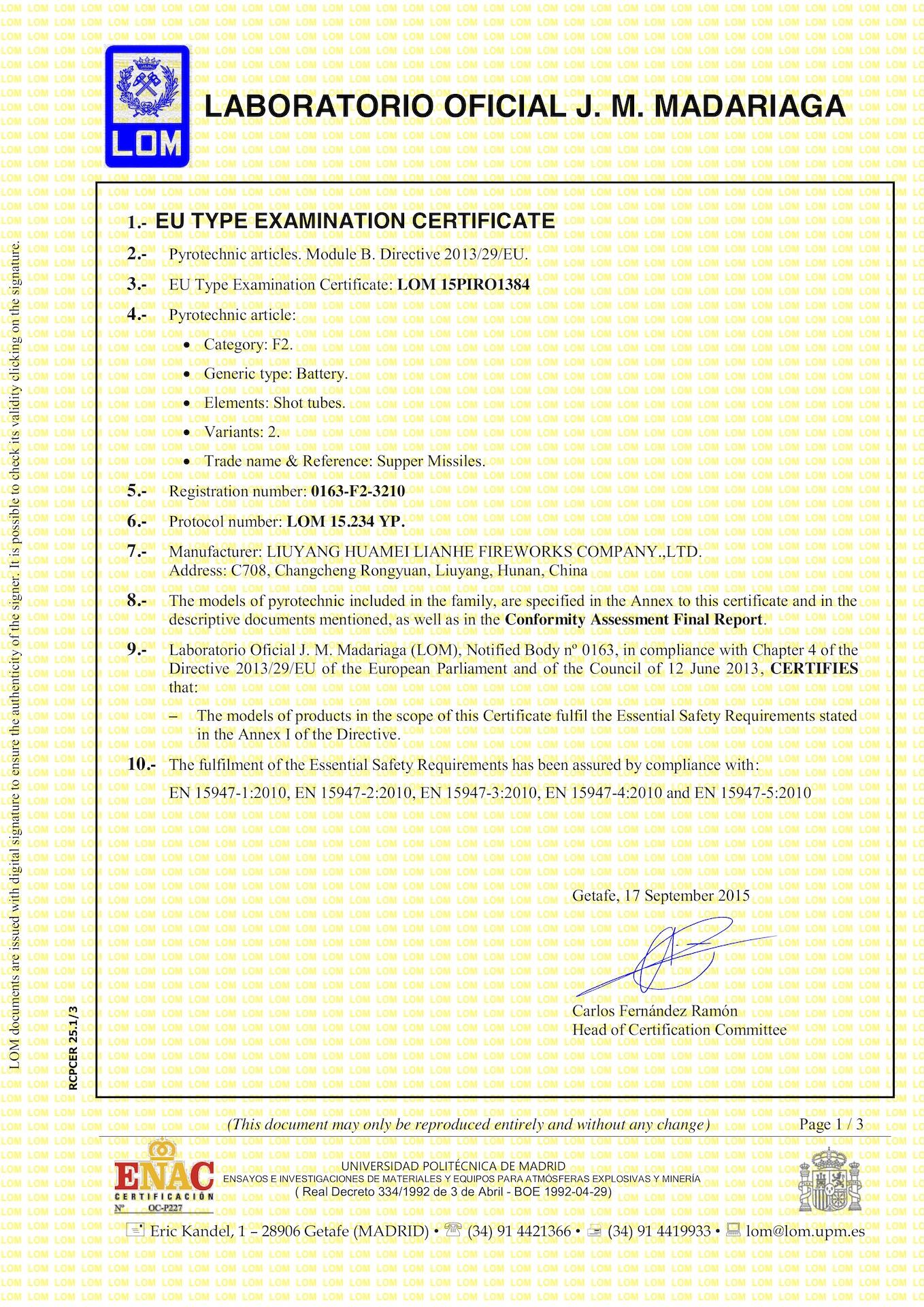 Module B Certificate Lom