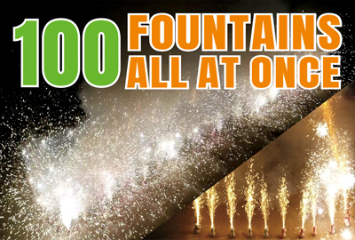 Firing 100 unicorn fountains fireworks all at once